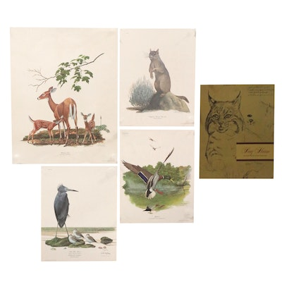 Ray Harm Offset Lithographs of Animals, Late 20th Century