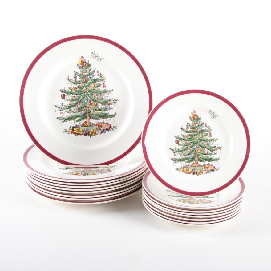 """Spode """"Christmas Tree"""" Salad and Dinner Plates"""