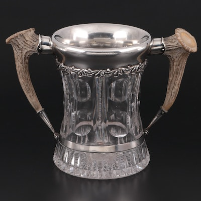 Redlich & Co. Silver and Antler-Mounted Cut Glass Loving Cup, Early 20th Century