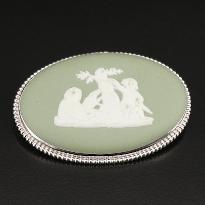 Wedgewood Porcelain Brooch with Greco Roman Scene