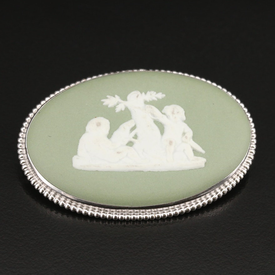 Wedgwood Porcelain Brooch with Greco Roman Scene