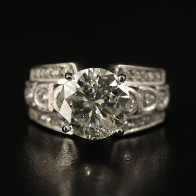 14K 3.42 CTW Diamond Ring with Milgrain Shoulders