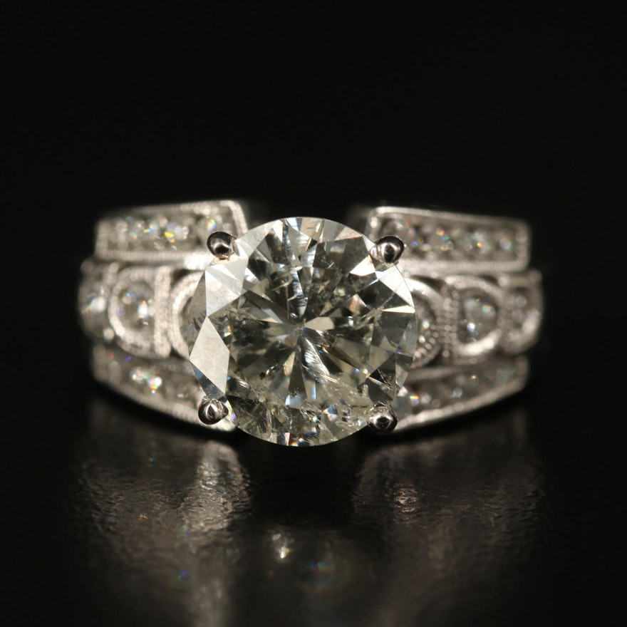 14K 3.42 CTW Diamond Ring with Milgrain Shoulders