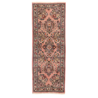 2'8 x 7'2 Hand-Knotted Persian Sarouk Carpet Runner, 1980s