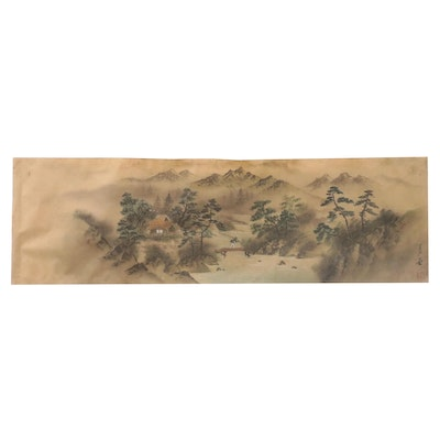 Chinese Landscape Watercolor Brush Painting with Fisherman