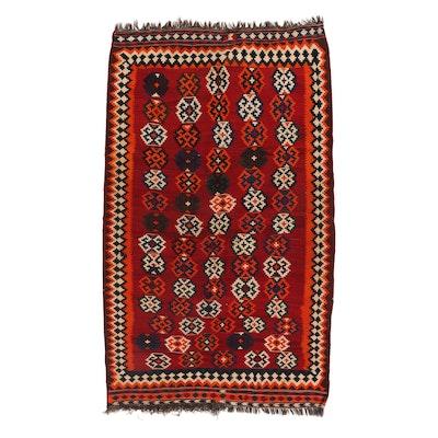 5'2 x 8'9 Handwoven Persian Shiraz Kilim Rug, 1950s
