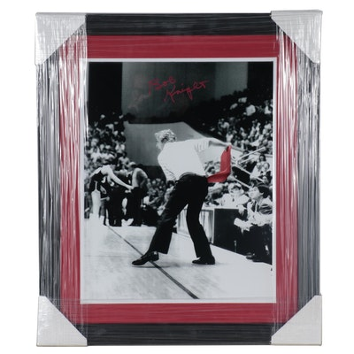 "IU Coach Bobby Knight Signed ""Throwing Chair"" NCAA Photo Print, CEI COA"