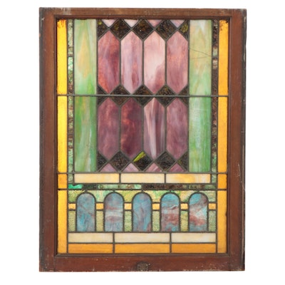 Victorian Stained and Slag Glass Window Panel