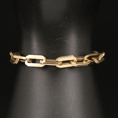 Vintage 14K Rectangular Cable Link Bracelet