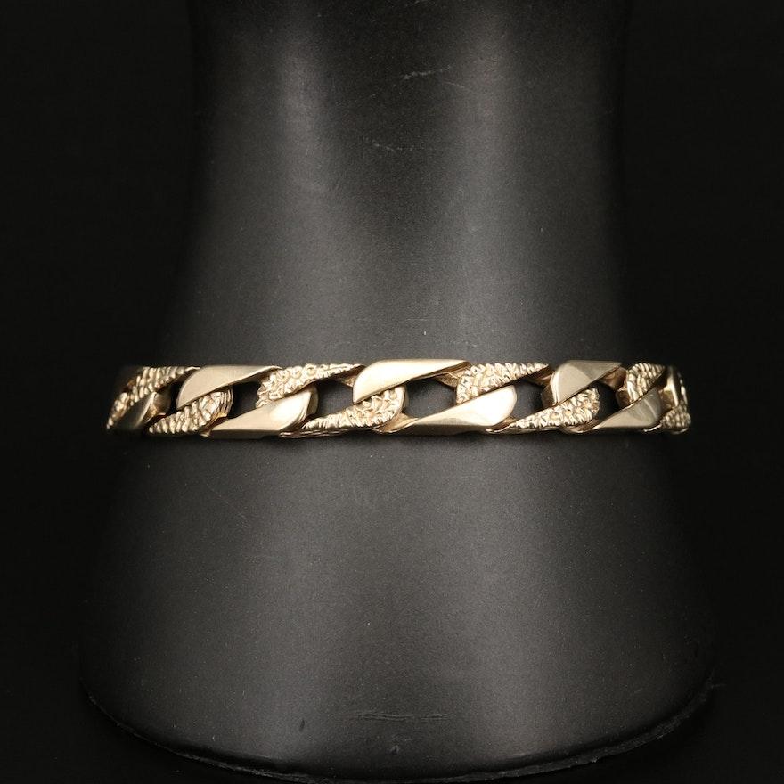 Vintage 14K Rectangular Curb Link Bracelet with Patterned Links