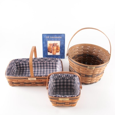 Longaberger J. W. Collection Gathering, Berry, and Apple Baskets with Book