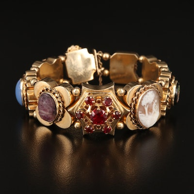 14K Slide Bracelet Including Cameos, Scarab, Micromosaic and Gemstones