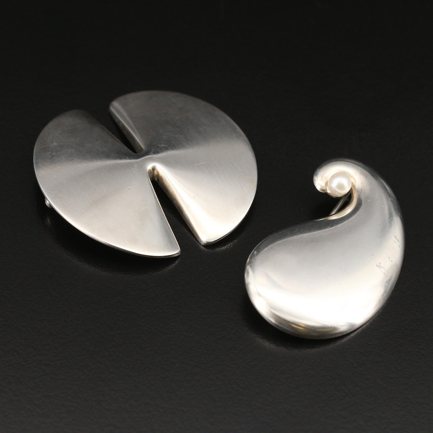Danish Georg Jensen Sterling and Pearl Brooches