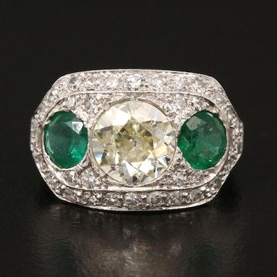 Art Deco Platinum 1.86 CTW Diamond and Emerald Ring
