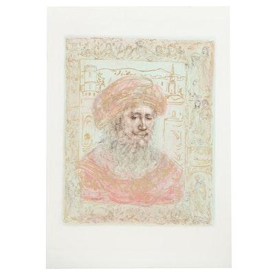 """Edna Hibel Embellished Lithograph """"Abraham,"""" 1970s"""