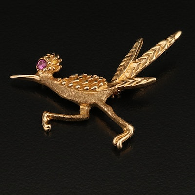 Vintage Frank J. Golden 14K Ruby Road Runner Brooch