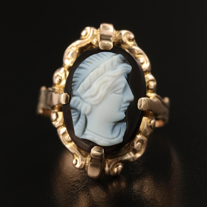 Victorian Rococo Revival 10K Oval Onyx Cameo Ring