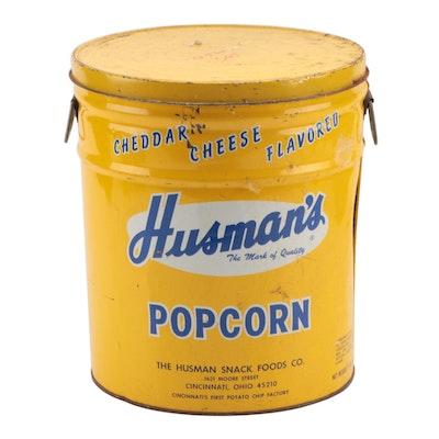 "Husman's ""Cheddar Cheese Popcorn"" Metal Storage Can, circa 1970s"