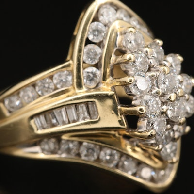 14K 1.86 CTW Diamond Cluster Ring