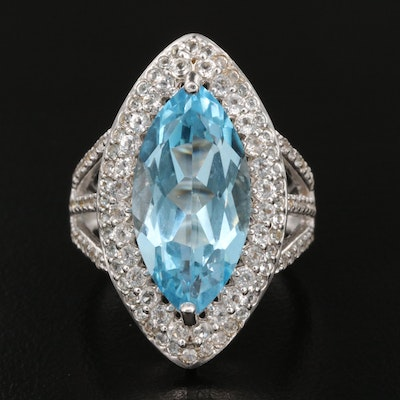 Sterling Topaz Navette Ring