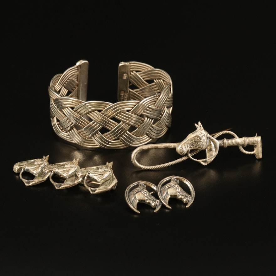 Sterling Equestrian Themed Brooches and Braided Cuff