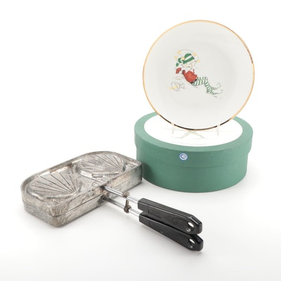 "Chadwick Seashell Sandwich Press and Restoration Hardware ""Naughty Elf"" Plates"