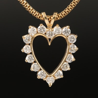 14K 1.52 CTW Diamond Heart Pendant on 18K Necklace