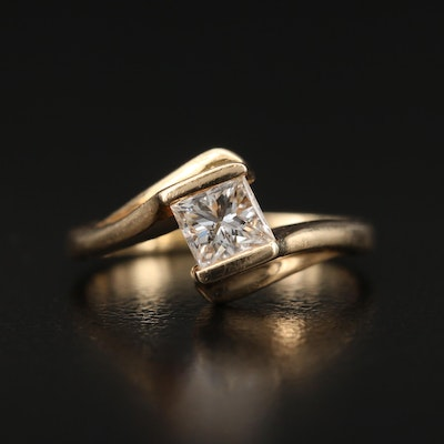 14K 0.45 CT Diamond Solitaire Bypass Ring