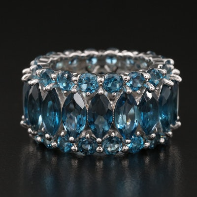 Sterling London Blue Topaz Eternity Band