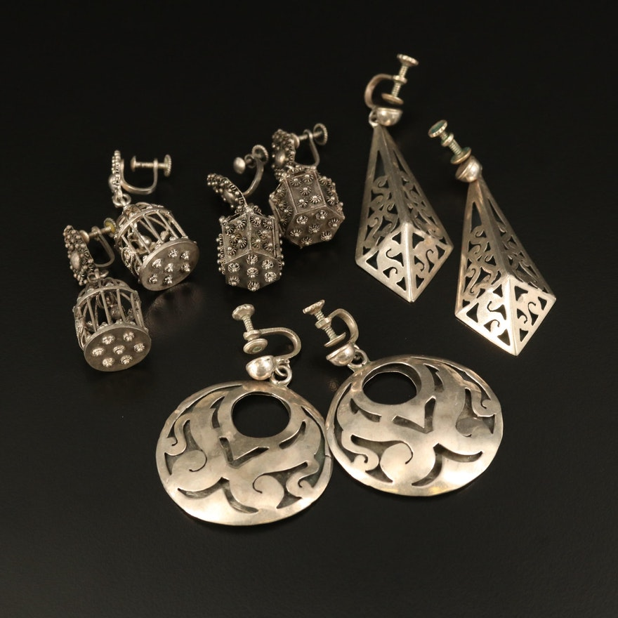 Caged Bird, Lantern and Sterling Openwork Screw Back Earrings