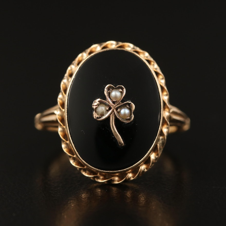 Mid-Victorian 14K Black Onyx and Seed Pearl Shamrock Ring