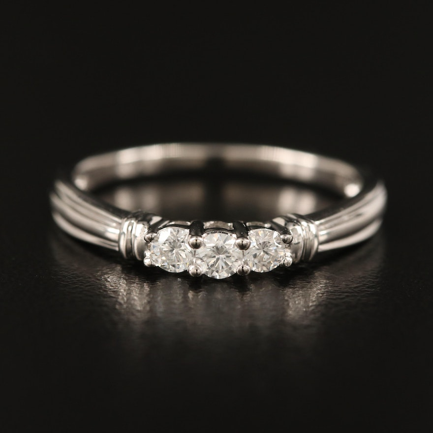 10K Diamond Three Stone Ring with Fluted Shoulders