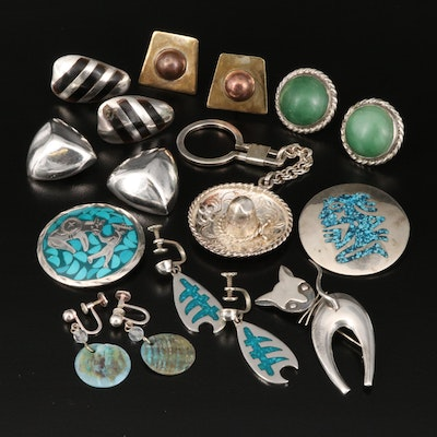 Vintage Mexican Sterling Silver Jewelry Including Sombrero Key Chain