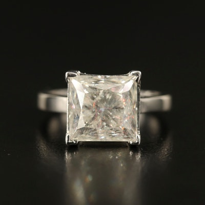 14K 5.70 CT Princess Cut Diamond Solitaire Ring