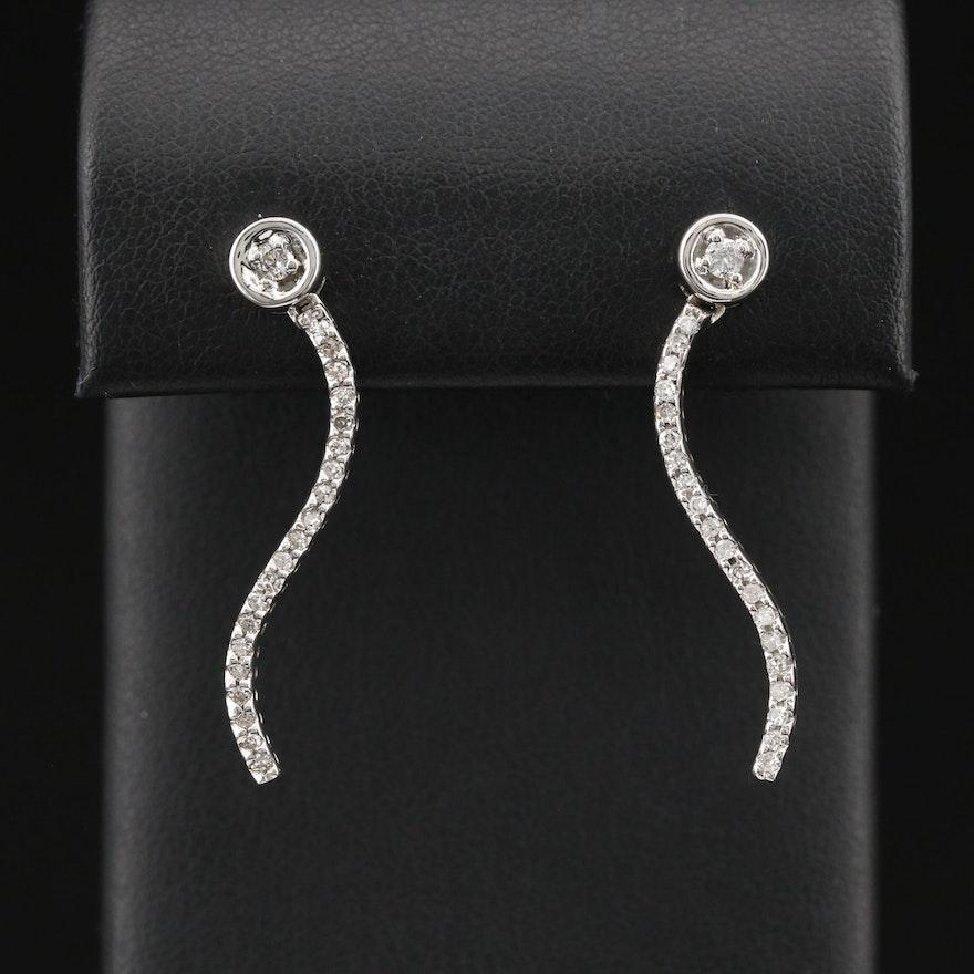14K Diamond Squiggle Earrings
