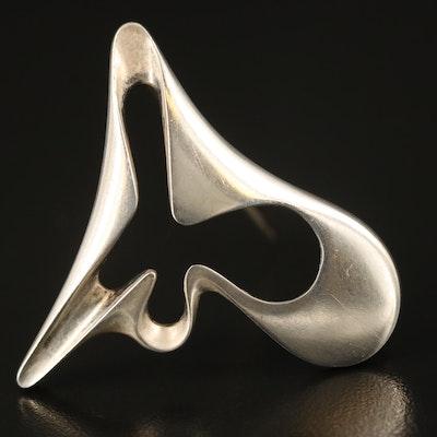 "Danish Modernist Georg Jensen ""Amoeba"" Brooch Attributed to Henning Koppel"