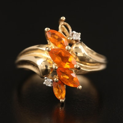10K Fire Opal and Diamond Ring