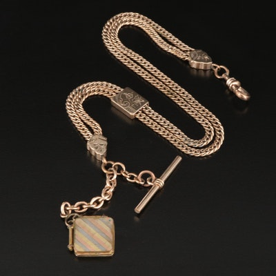 Victorian Bliss Bros. Co. Watch Fob Chain with Slide and Square Locket