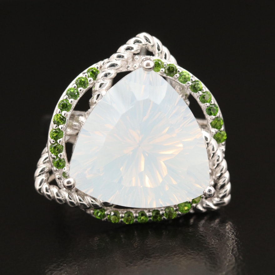 Sterling Silver Quartz and Diopside Ring
