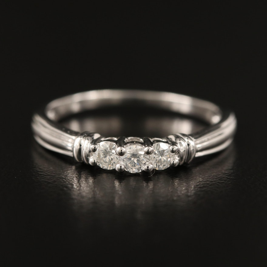 10K Diamond Three Stone Ring