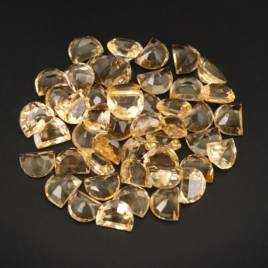 Loose 121.01 CTW Half Moon Faceted Citrines