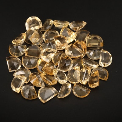 Loose 105.09 CTW Half Moon Faceted Citrines