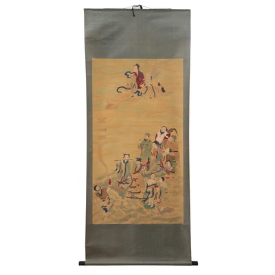Chinese Gouache Brush Painting Featuring Shouxing, 21st Century