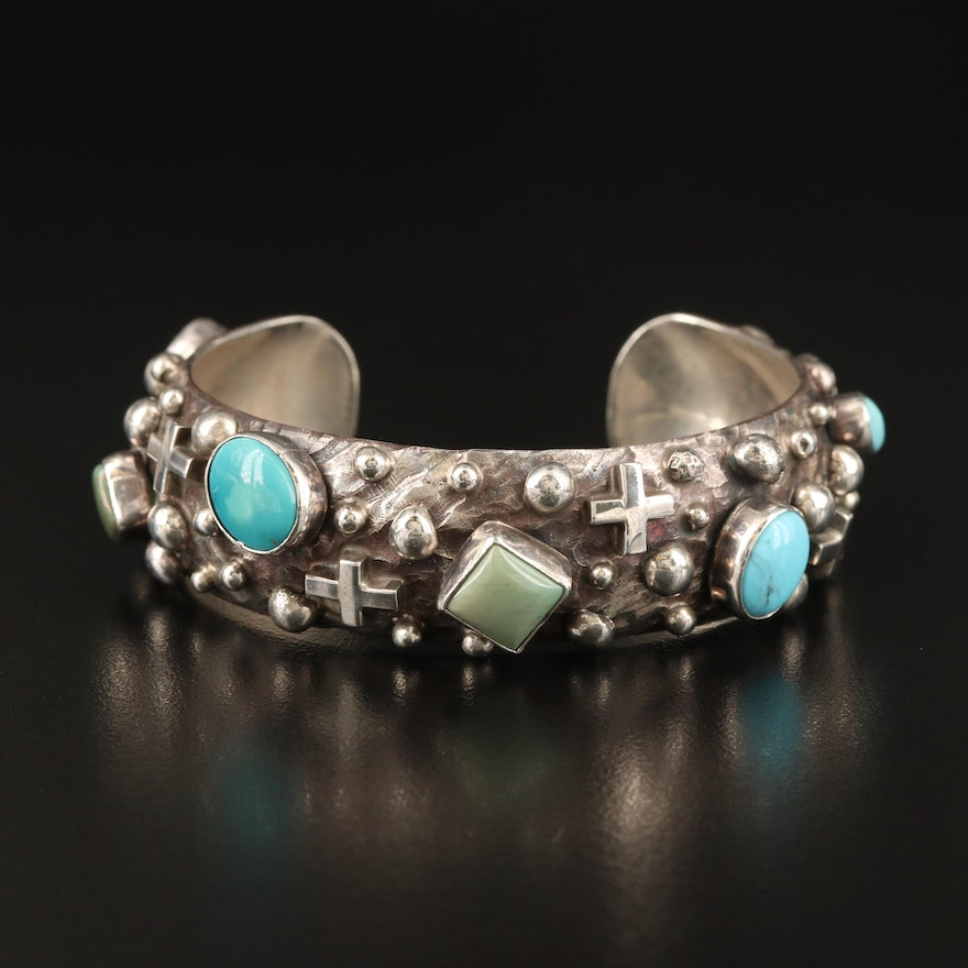 Ronnie Willie Navajo Diné Sterling Turquoise Cuff