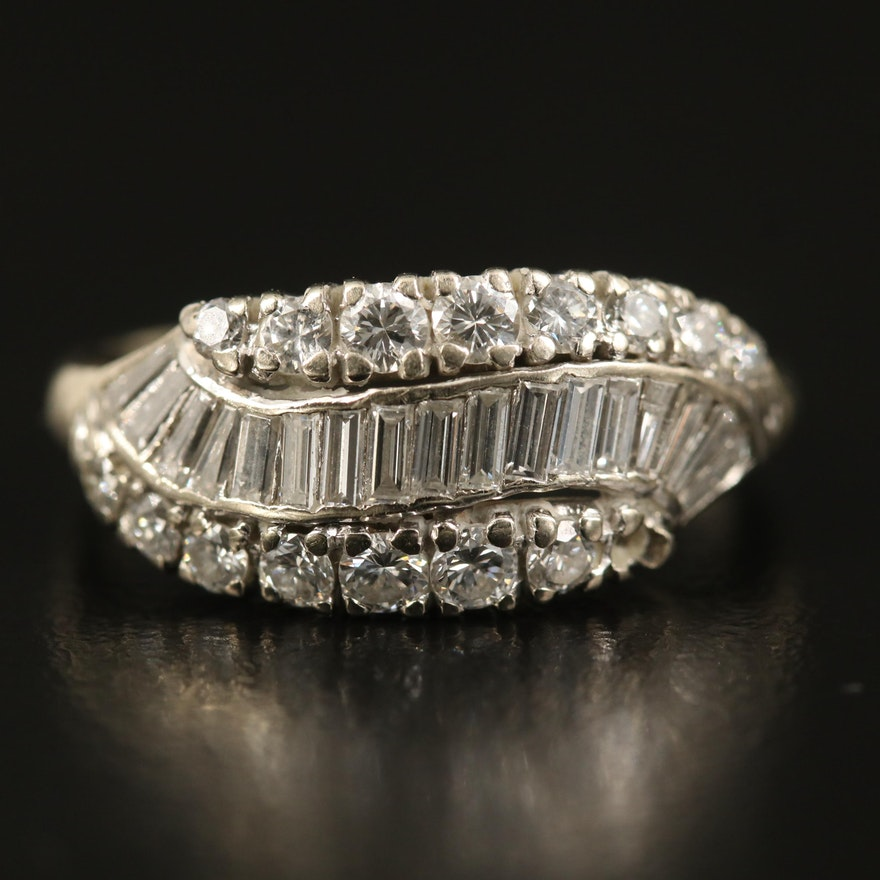 14K 1.05 CTW Diamond Wave Ring