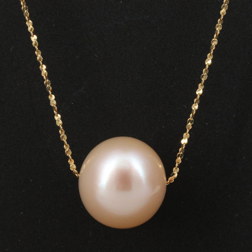 14K Necklace with Single Pearl Accent