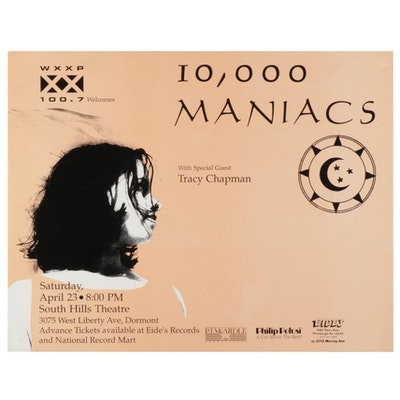 1988 10,000 Maniacs Pittsburgh Concert Poster