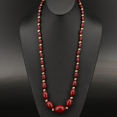 14K Graduated Imitation Amber Bead Necklace with Fluted Spacer Beads