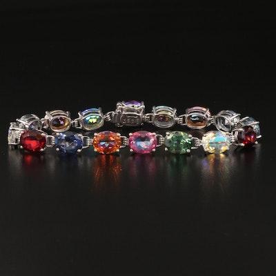 Sterling Multicolored Quartz Link Bracelet