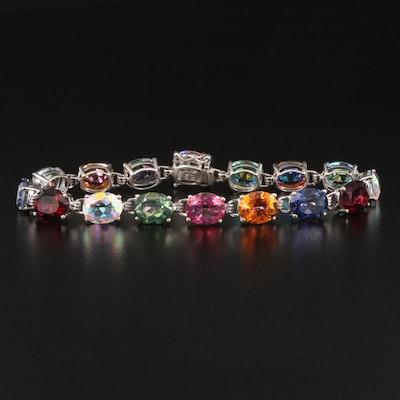 Sterling Multicolored Mystic Quartz Line Bracelet